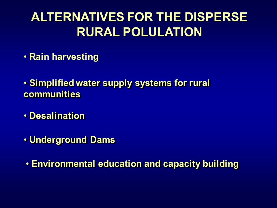 Rain harvesting Rain harvesting Rain harvesting Rain harvesting ALTERNATIVES FOR THE DISPERSE RURAL POLULATION Simplified water supply systems for rur