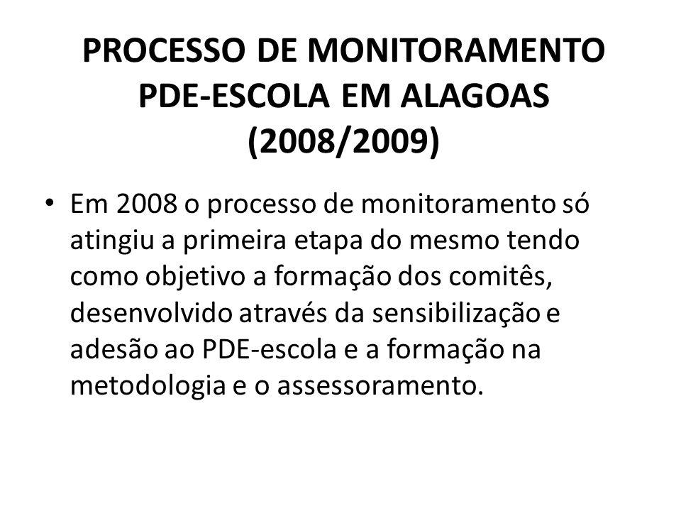 PROCESSO DE MONITORAMENTO PDE-ESCOLA EM ALAGOAS (2008/2009) Em 2008 o processo de monitoramento só atingiu a primeira etapa do mesmo tendo como objeti