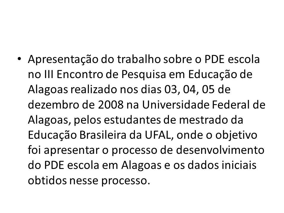 Apresentação do trabalho sobre o PDE escola no III Encontro de Pesquisa em Educação de Alagoas realizado nos dias 03, 04, 05 de dezembro de 2008 na Un