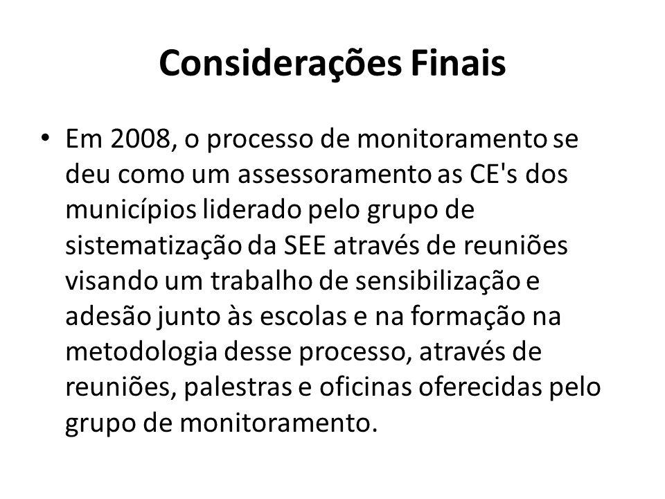 Considerações Finais Em 2008, o processo de monitoramento se deu como um assessoramento as CE's dos municípios liderado pelo grupo de sistematização d