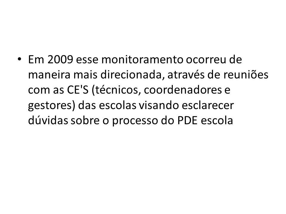 Em 2009 esse monitoramento ocorreu de maneira mais direcionada, através de reuniões com as CE'S (técnicos, coordenadores e gestores) das escolas visan