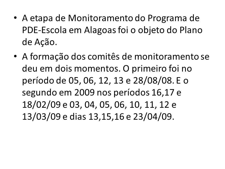 A etapa de Monitoramento do Programa de PDE-Escola em Alagoas foi o objeto do Plano de Ação. A formação dos comitês de monitoramento se deu em dois mo