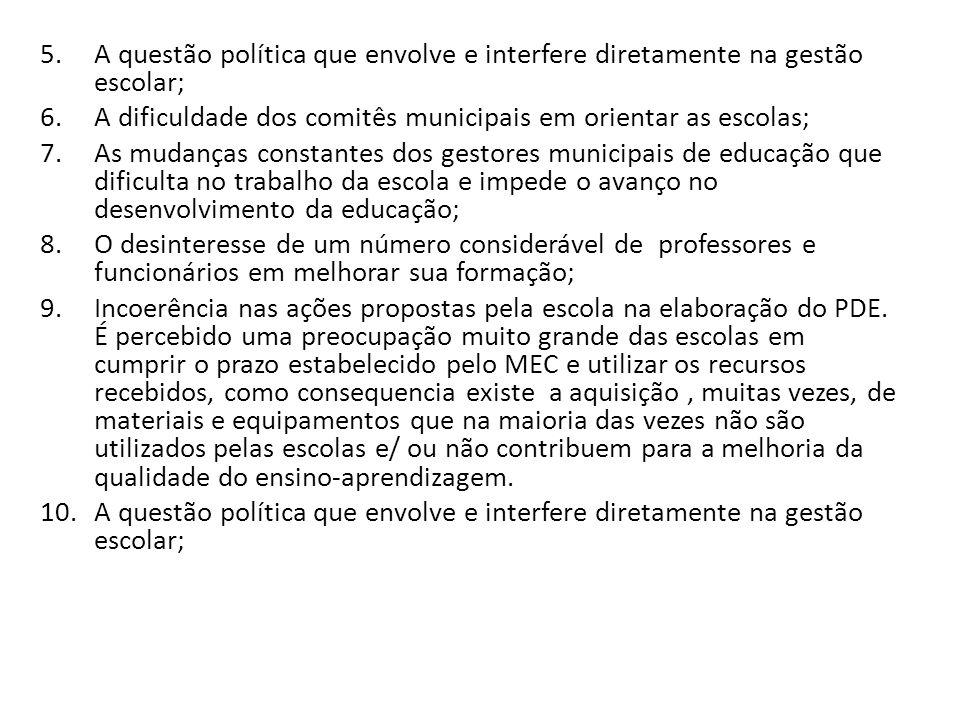 5.A questão política que envolve e interfere diretamente na gestão escolar; 6.A dificuldade dos comitês municipais em orientar as escolas; 7.As mudanç