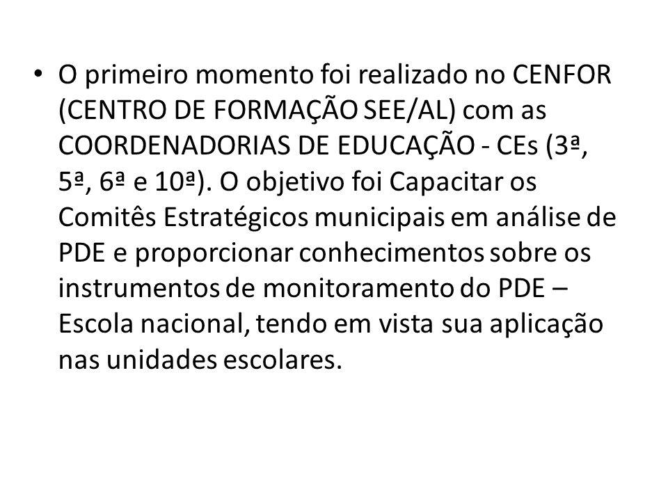 O primeiro momento foi realizado no CENFOR (CENTRO DE FORMAÇÃO SEE/AL) com as COORDENADORIAS DE EDUCAÇÃO - CEs (3ª, 5ª, 6ª e 10ª). O objetivo foi Capa