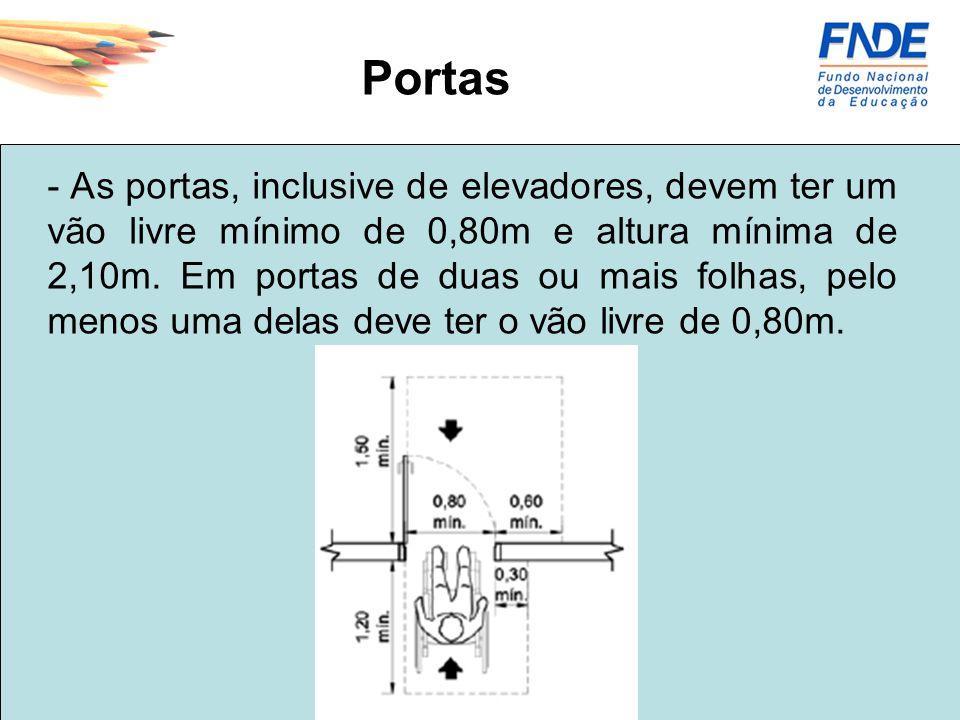 Portas - As portas, inclusive de elevadores, devem ter um vão livre mínimo de 0,80m e altura mínima de 2,10m. Em portas de duas ou mais folhas, pelo m