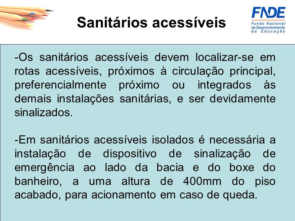 -Os sanitários acessíveis devem localizar-se em rotas acessíveis, próximos à circulação principal, preferencialmente próximo ou integrados às demais i