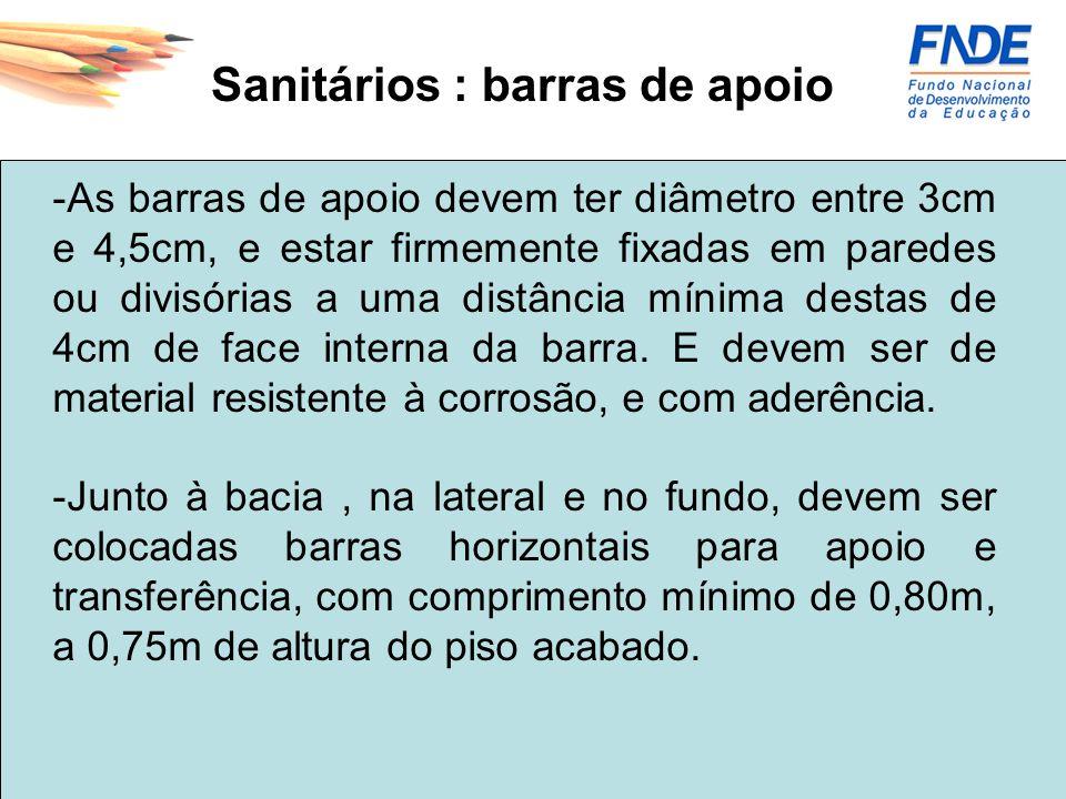 Sanitários : barras de apoio -As barras de apoio devem ter diâmetro entre 3cm e 4,5cm, e estar firmemente fixadas em paredes ou divisórias a uma distâ