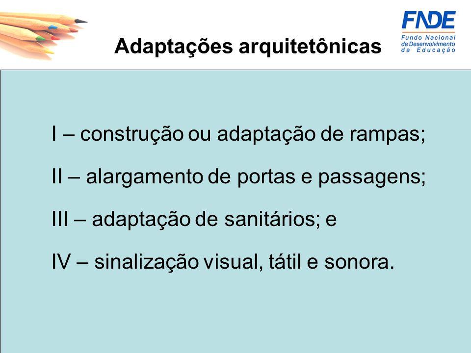 Adaptações arquitetônicas I – construção ou adaptação de rampas; II – alargamento de portas e passagens; III – adaptação de sanitários; e IV – sinaliz
