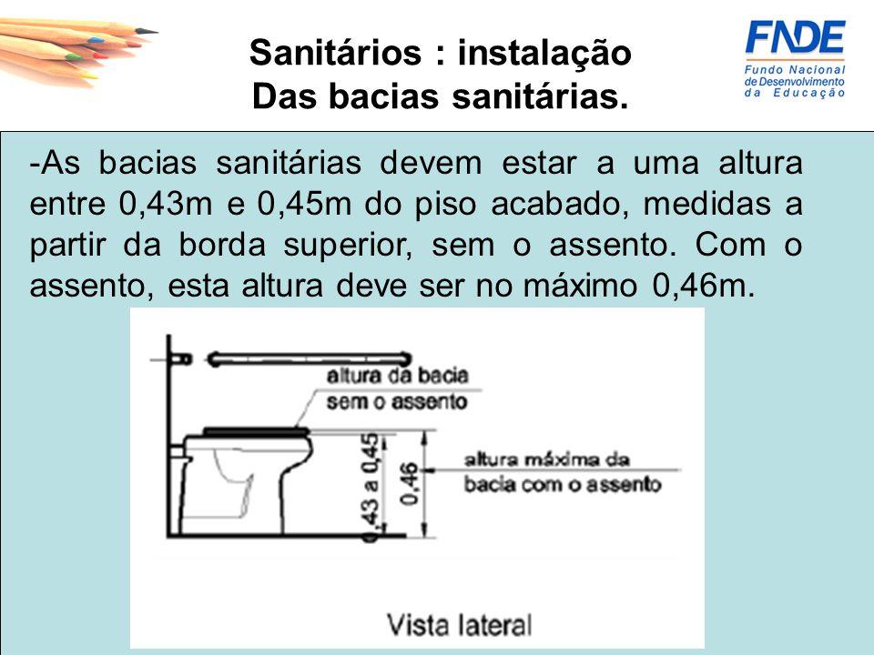 Sanitários : instalação Das bacias sanitárias. -As bacias sanitárias devem estar a uma altura entre 0,43m e 0,45m do piso acabado, medidas a partir da