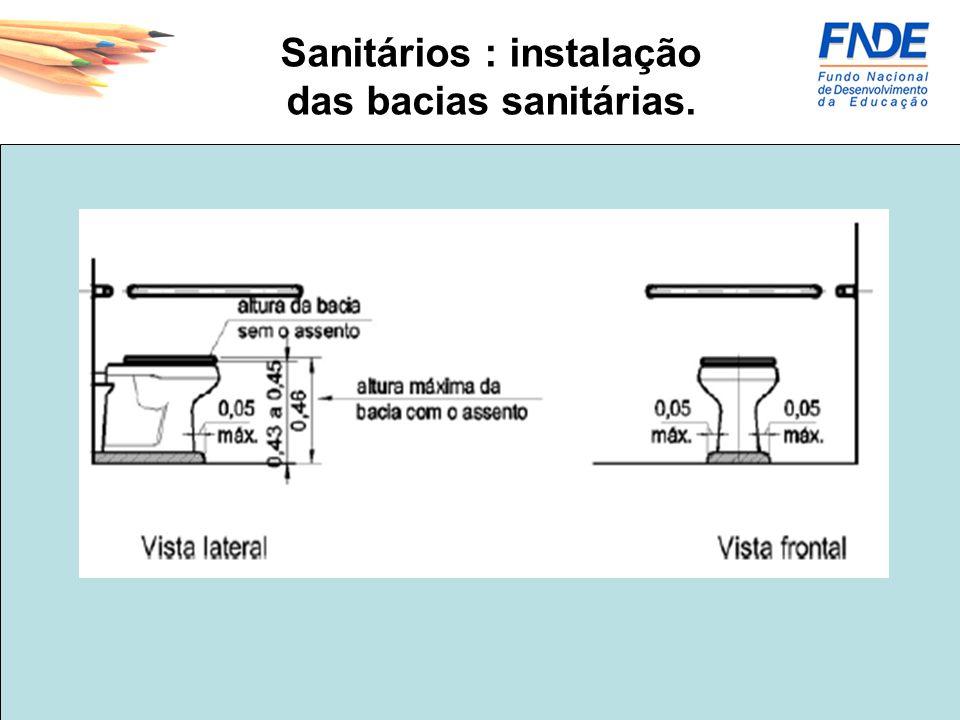 Sanitários : instalação das bacias sanitárias.