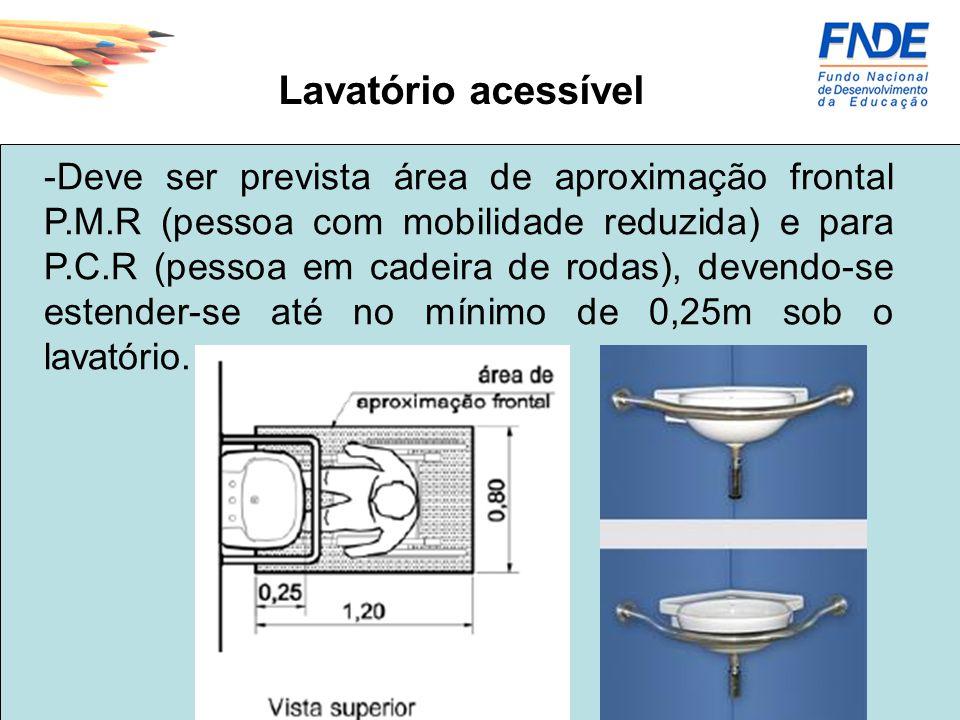 Lavatório acessível -Deve ser prevista área de aproximação frontal P.M.R (pessoa com mobilidade reduzida) e para P.C.R (pessoa em cadeira de rodas), d