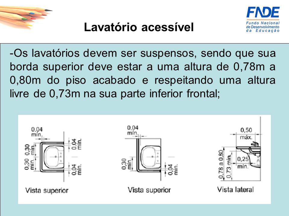 Lavatório acessível -Os lavatórios devem ser suspensos, sendo que sua borda superior deve estar a uma altura de 0,78m a 0,80m do piso acabado e respei