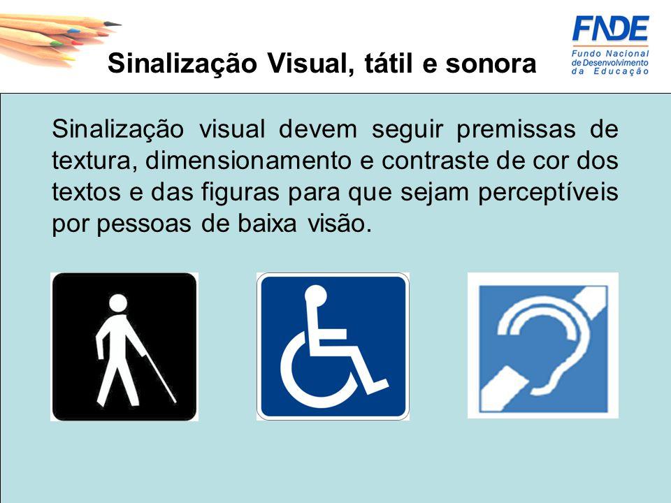 Sinalização Visual, tátil e sonora Sinalização visual devem seguir premissas de textura, dimensionamento e contraste de cor dos textos e das figuras p