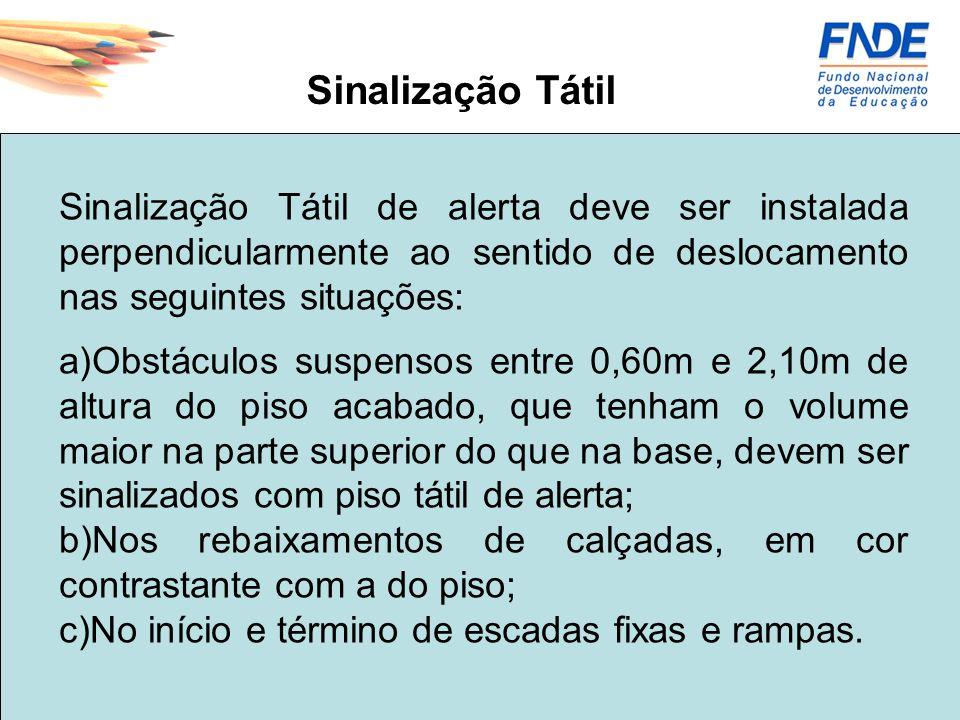 Sinalização Tátil Sinalização Tátil de alerta deve ser instalada perpendicularmente ao sentido de deslocamento nas seguintes situações: a)Obstáculos s