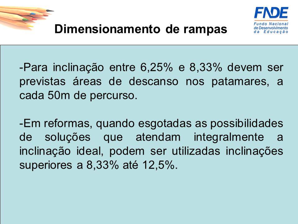 Dimensionamento de rampas -A largura livre mínima recomendável para as rampas em rotas acessíveis é de 1,50m, sendo o mínimo admissível 1,20m.