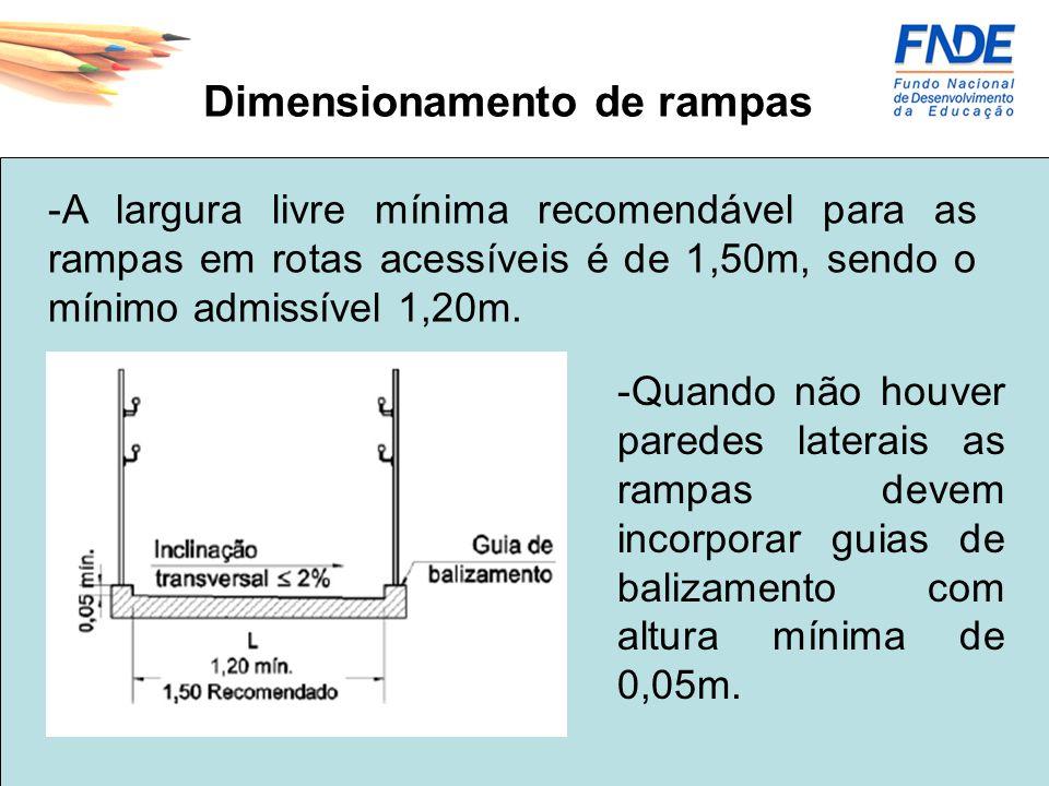 Dimensionamento de rampas -A largura livre mínima recomendável para as rampas em rotas acessíveis é de 1,50m, sendo o mínimo admissível 1,20m. -Quando