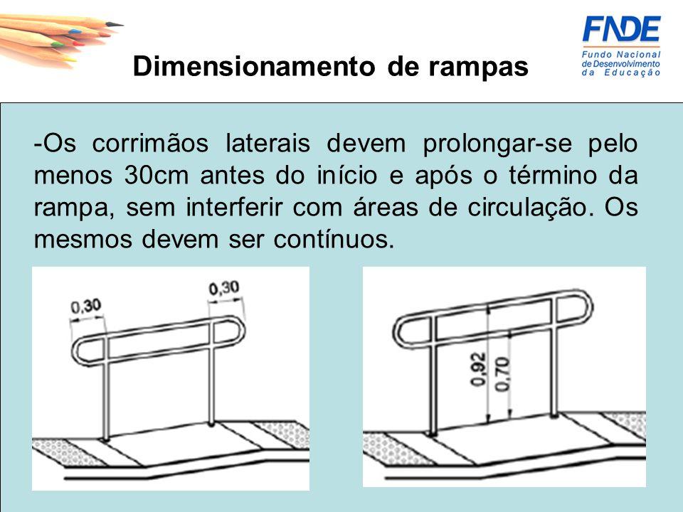Dimensionamento de escadas -Os corrimãos laterais devem prolongar-se pelo menos 30cm antes do início e após o término da rampa, sem interferir com áreas de circulação.