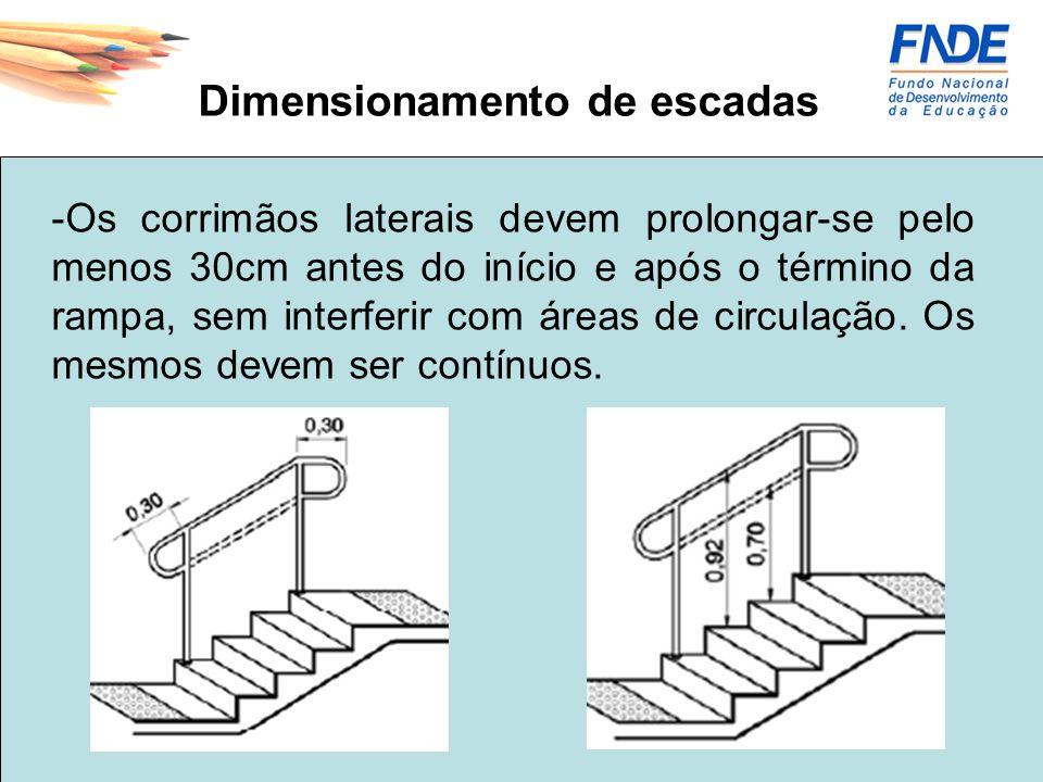 Dimensionamento de escadas -Os corrimãos laterais devem prolongar-se pelo menos 30cm antes do início e após o término da rampa, sem interferir com áre