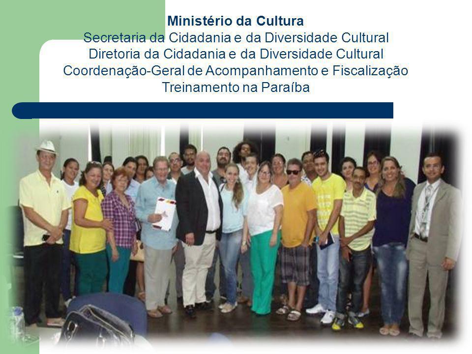 Ministério da Cultura Secretaria da Cidadania e da Diversidade Cultural Diretoria da Cidadania e da Diversidade Cultural Coordenação-Geral de Acompanhamento e Fiscalização Debate com Gestores Estaduais da Paraíba para discutir a Rede e Treinamento da equipe