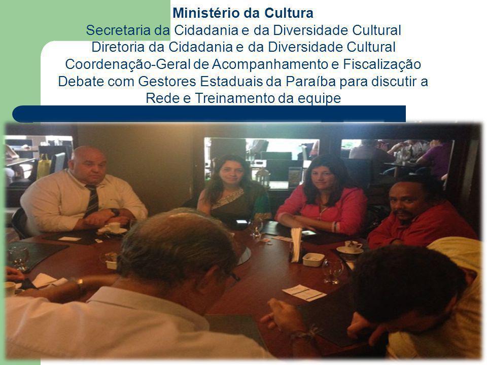 Ministério da Cultura Secretaria da Cidadania e da Diversidade Cultural Diretoria da Cidadania e da Diversidade Cultural Coordenação-Geral de Acompanhamento e Fiscalização Atendimento a Pontos de Cultura na Teia - MARANHAO