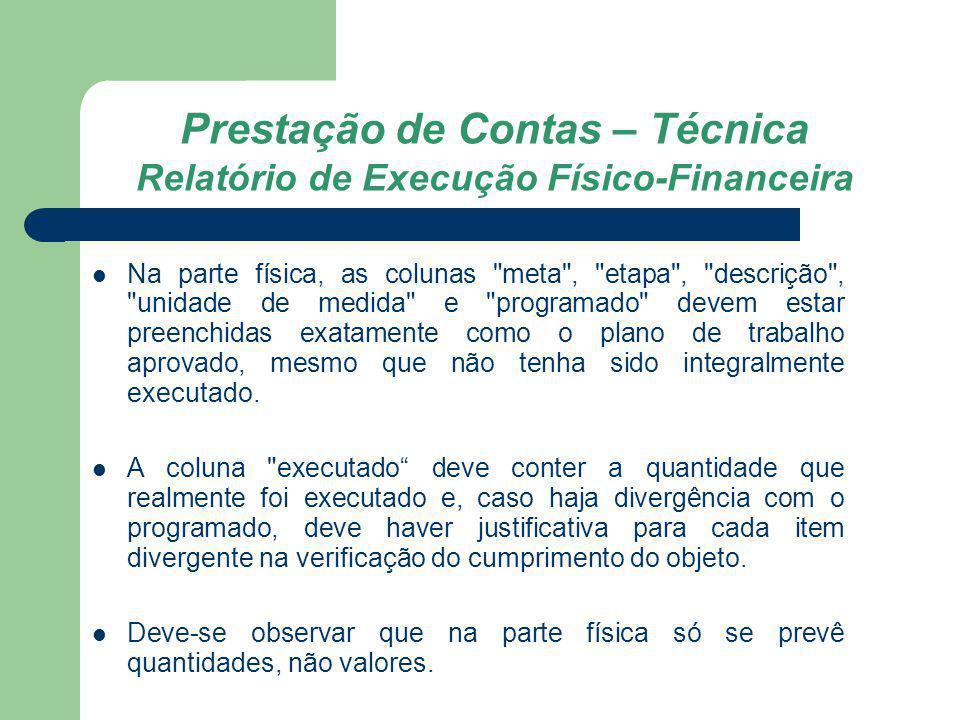 Prestação de Contas – Técnica Relatório de Execução Físico-Financeira Na parte física, as colunas