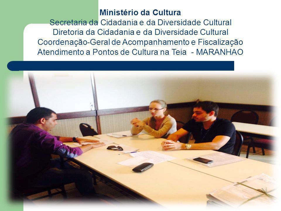 Ministério da Cultura Secretaria da Cidadania e da Diversidade Cultural Diretoria da Cidadania e da Diversidade Cultural Coordenação-Geral de Acompanhamento e Fiscalização Acompanhamento, Fiscalização e Prestação de Contas:  Pontos de Cultura  Pontões de Cultura  Redes de Pontos de Cultura