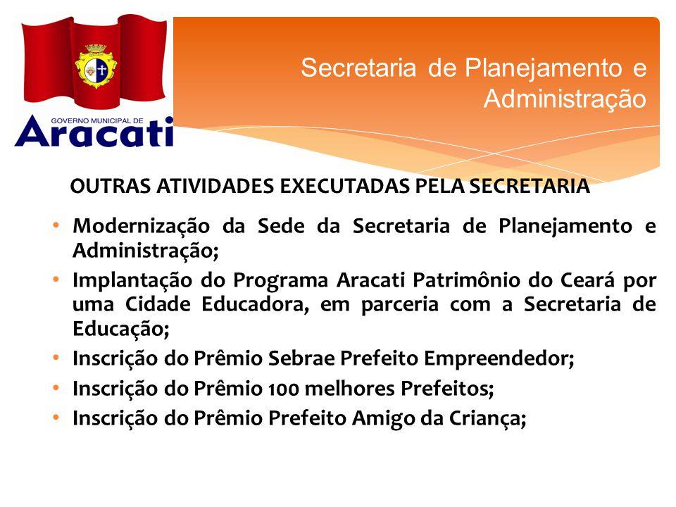 OUTRAS ATIVIDADES EXECUTADAS PELA SECRETARIA Secretaria de Planejamento e Administração Modernização da Sede da Secretaria de Planejamento e Administr