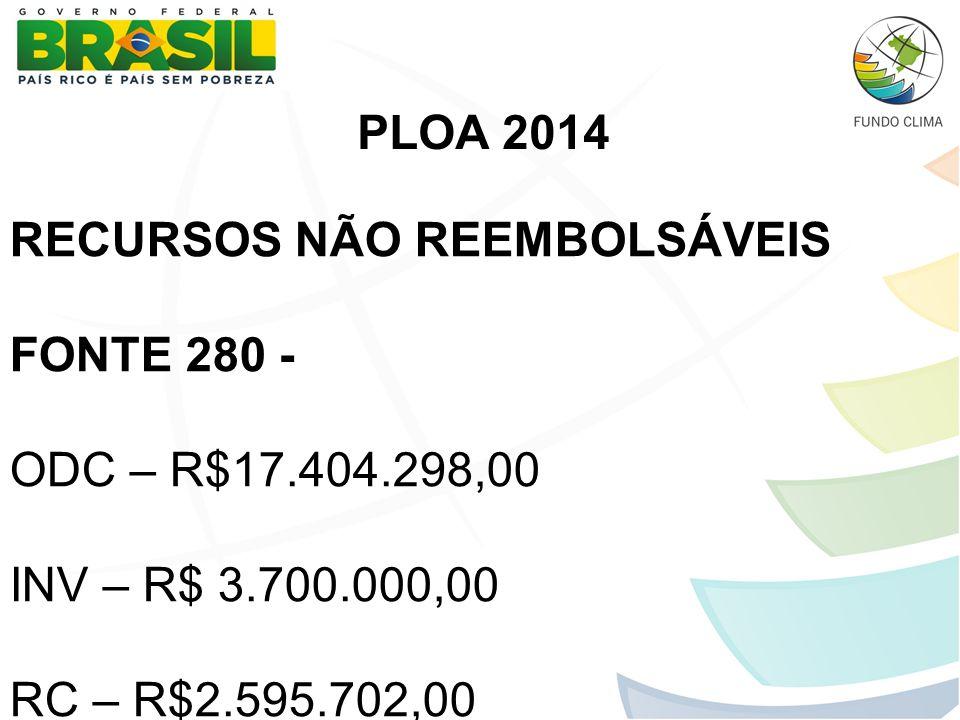 RECURSOS NÃO REEMBOLSÁVEIS FONTE 280 - ODC – R$17.404.298,00 INV – R$ 3.700.000,00 RC – R$2.595.702,00