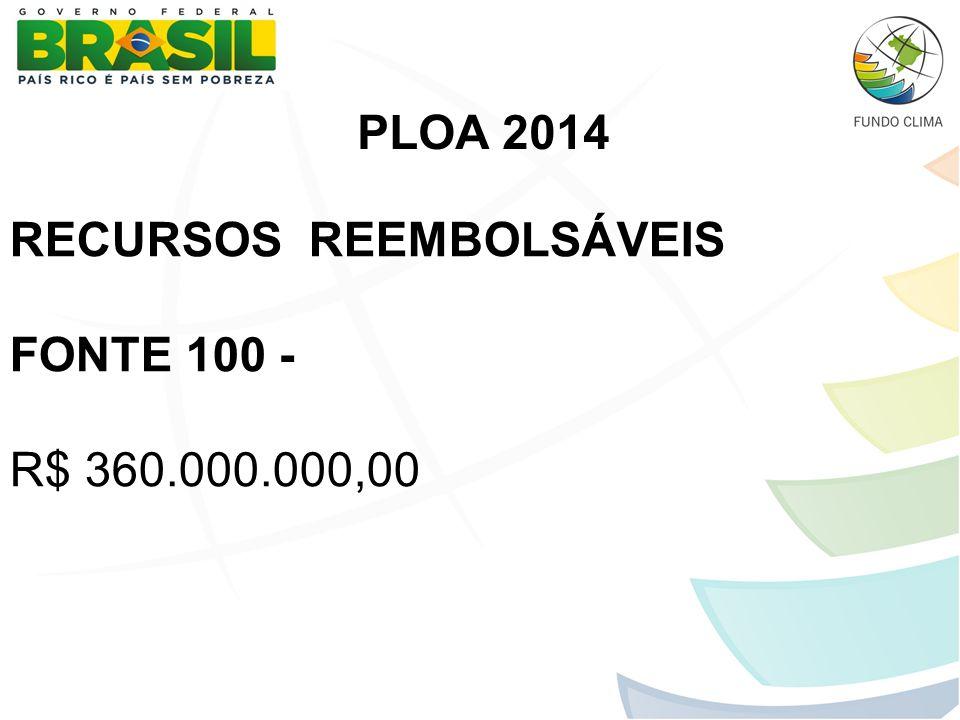 PLOA 2014 RECURSOS REEMBOLSÁVEIS FONTE 100 - R$ 360.000.000,00