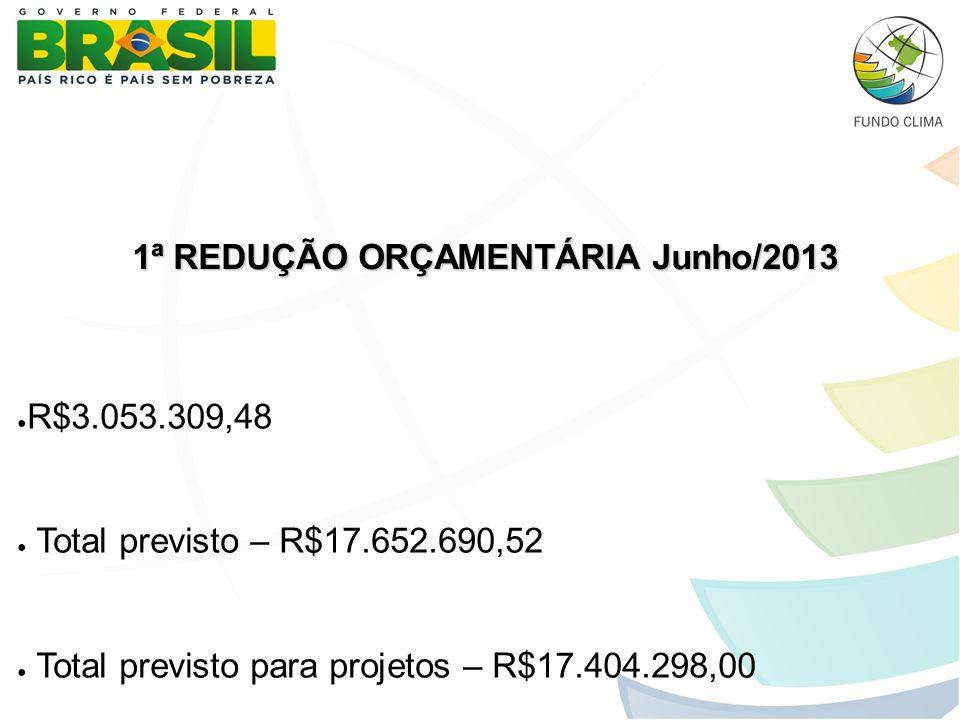 1ª REDUÇÃO ORÇAMENTÁRIA Junho/2013 1ª REDUÇÃO ORÇAMENTÁRIA Junho/2013 ● R$3.053.309,48 ● Total previsto – R$17.652.690,52 ● Total previsto para projet