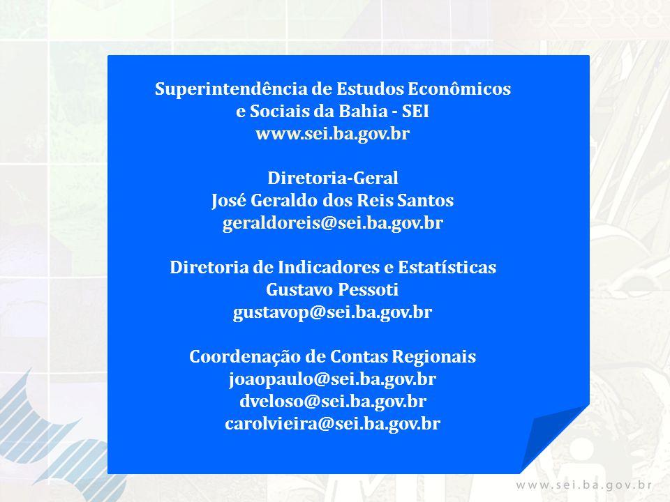 Superintendência de Estudos Econômicos e Sociais da Bahia - SEI www.sei.ba.gov.br Diretoria-Geral José Geraldo dos Reis Santos geraldoreis@sei.ba.gov.br Diretoria de Indicadores e Estatísticas Gustavo Pessoti gustavop@sei.ba.gov.br Coordenação de Contas Regionais joaopaulo@sei.ba.gov.br dveloso@sei.ba.gov.br carolvieira@sei.ba.gov.br