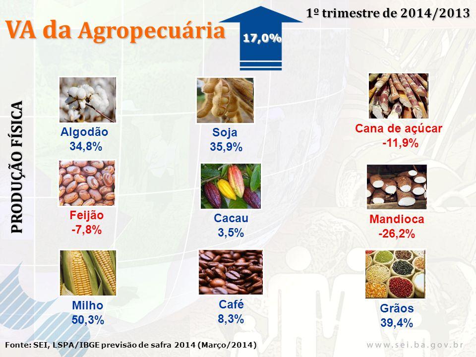 VA da Agropecuária 1º trimestre de 2014/2013 Fonte: SEI, LSPA/IBGE previsão de safra 2014 (Março/2014) 17,0% PRODUÇÃO FÍSICA Algodão 34,8% Soja 35,9% Cana de açúcar -11,9% Milho 50,3% Feijão -7,8% Cacau 3,5% Mandioca -26,2% Café 8,3% Grãos 39,4%