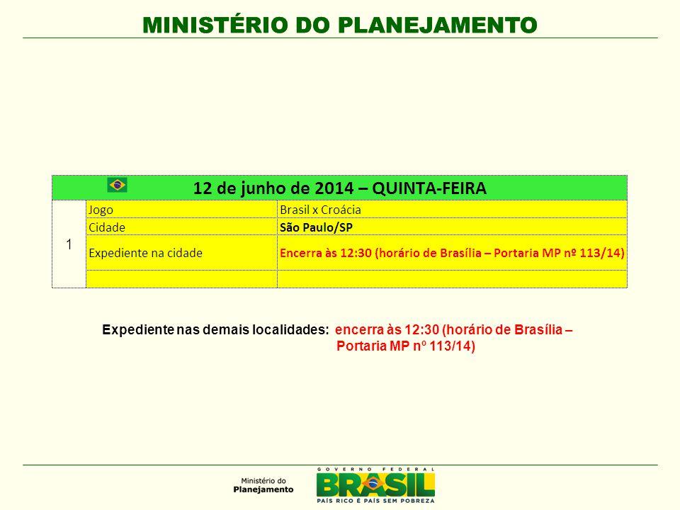 MINISTÉRIO DO PLANEJAMENTO Expediente nas demais localidades: encerra às 12:30 (horário de Brasília – Portaria MP nº 113/14)