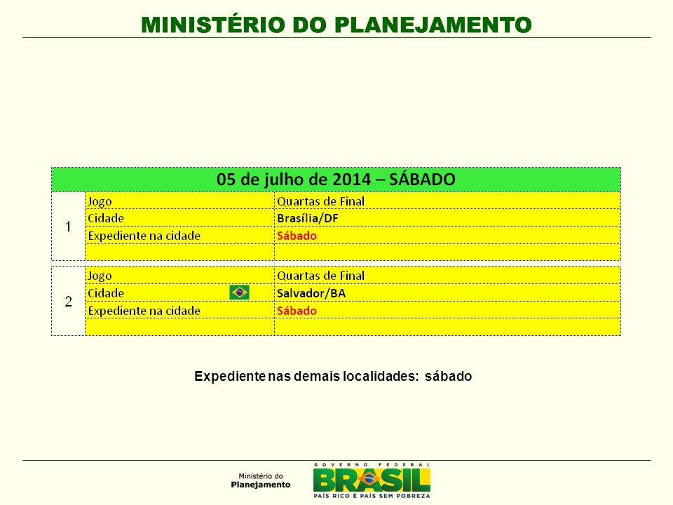 MINISTÉRIO DO PLANEJAMENTO Expediente nas demais localidades: sábado
