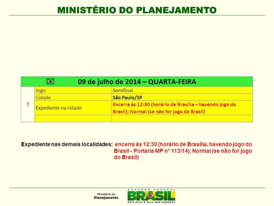 MINISTÉRIO DO PLANEJAMENTO Expediente nas demais localidades: encerra às 12:30 (horário de Brasília, havendo jogo do Brasil - Portaria MP nº 113/14); Normal (se não for jogo do Brasil)