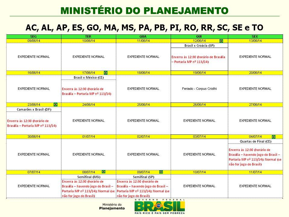 MINISTÉRIO DO PLANEJAMENTO AC, AL, AP, ES, GO, MA, MS, PA, PB, PI, RO, RR, SC, SE e TO
