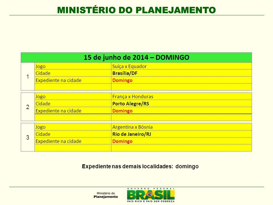 MINISTÉRIO DO PLANEJAMENTO Expediente nas demais localidades: domingo