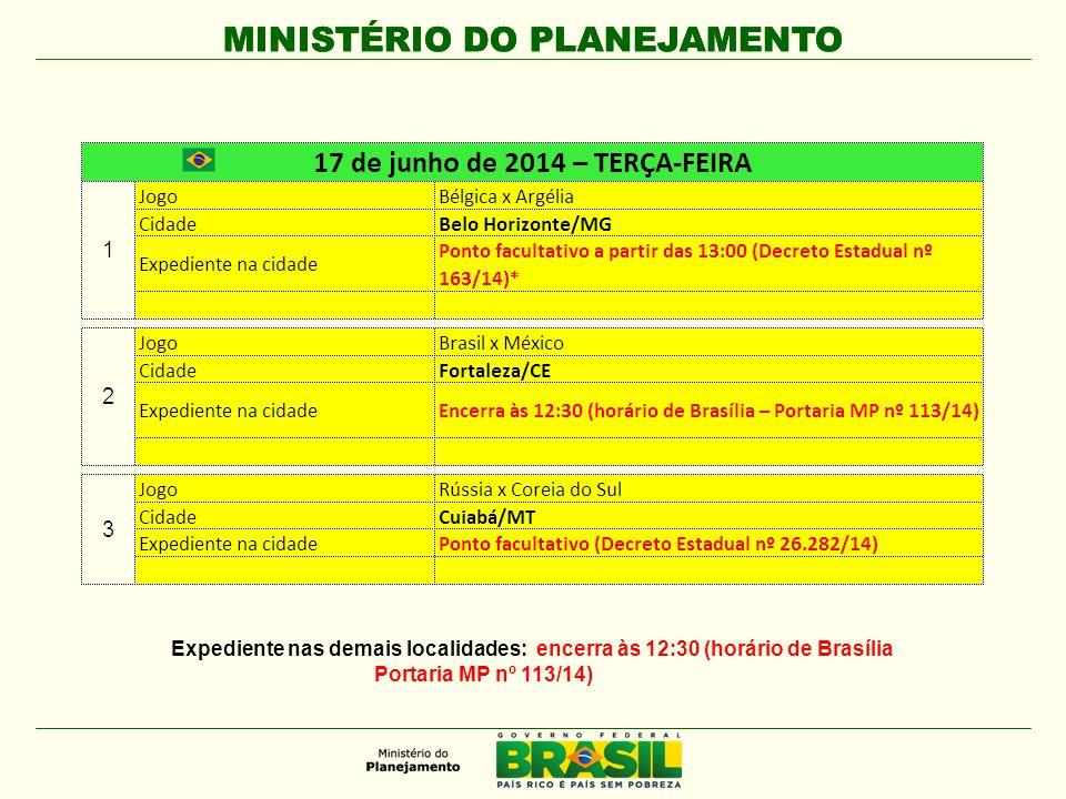 MINISTÉRIO DO PLANEJAMENTO Expediente nas demais localidades: encerra às 12:30 (horário de Brasília Portaria MP nº 113/14)