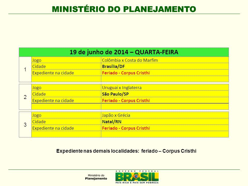 MINISTÉRIO DO PLANEJAMENTO Expediente nas demais localidades: feriado – Corpus Cristhi