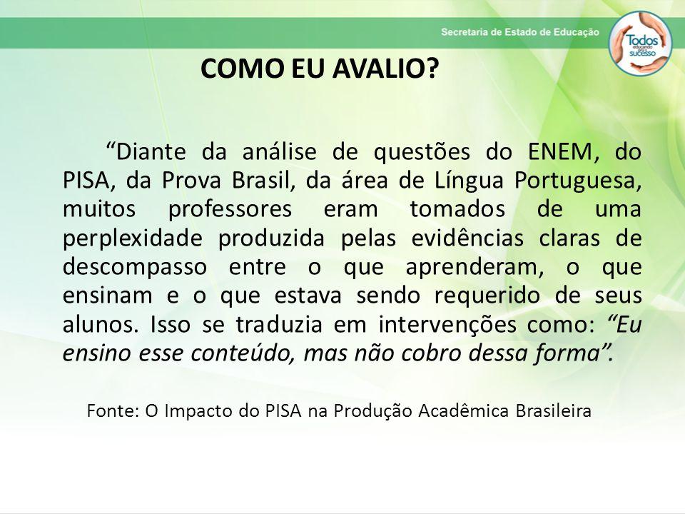 Diante da análise de questões do ENEM, do PISA, da Prova Brasil, da área de Língua Portuguesa, muitos professores eram tomados de uma perplexidade produzida pelas evidências claras de descompasso entre o que aprenderam, o que ensinam e o que estava sendo requerido de seus alunos.