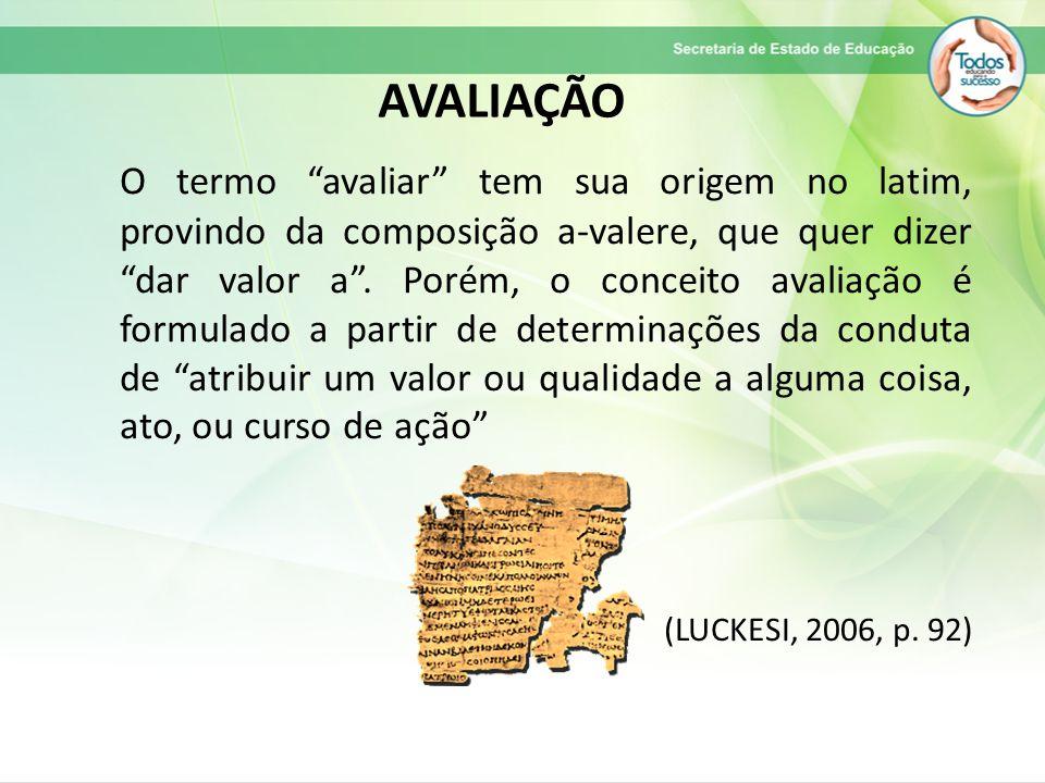 O termo avaliar tem sua origem no latim, provindo da composição a-valere, que quer dizer dar valor a .