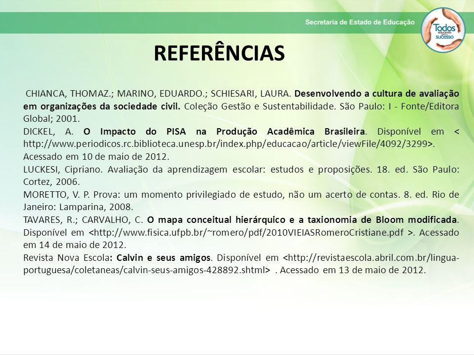 REFERÊNCIAS CHIANCA, THOMAZ.; MARINO, EDUARDO.; SCHIESARI, LAURA.
