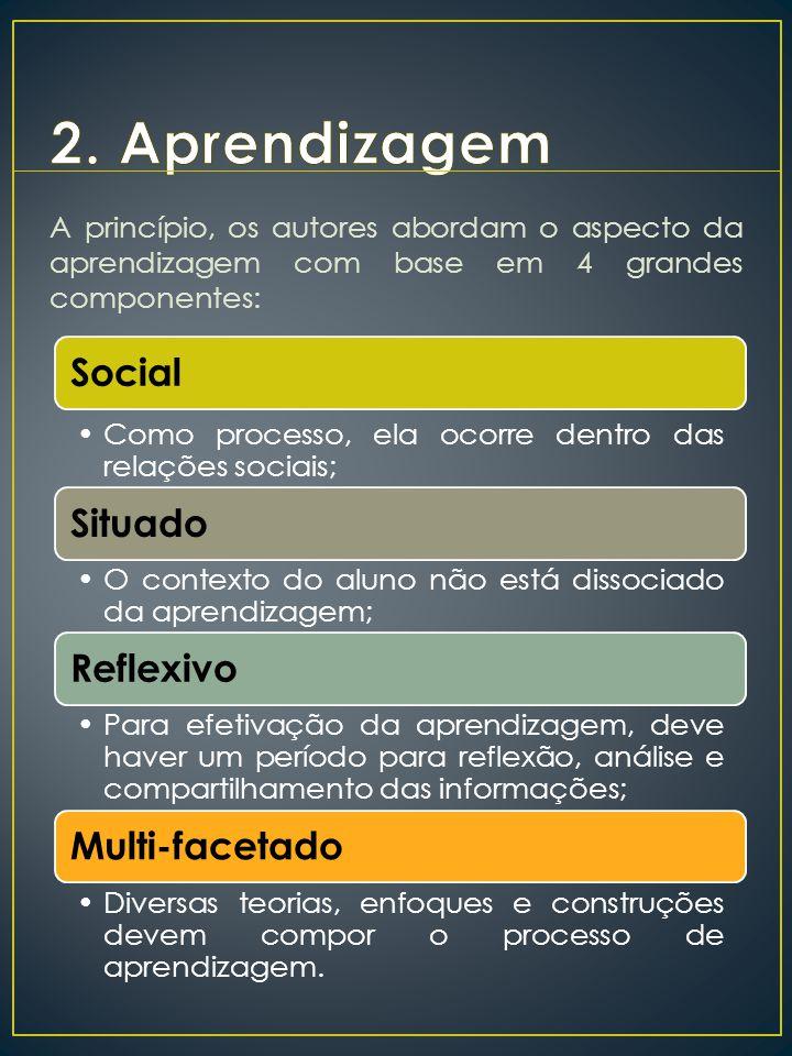 A princípio, os autores abordam o aspecto da aprendizagem com base em 4 grandes componentes: Social Como processo, ela ocorre dentro das relações soci