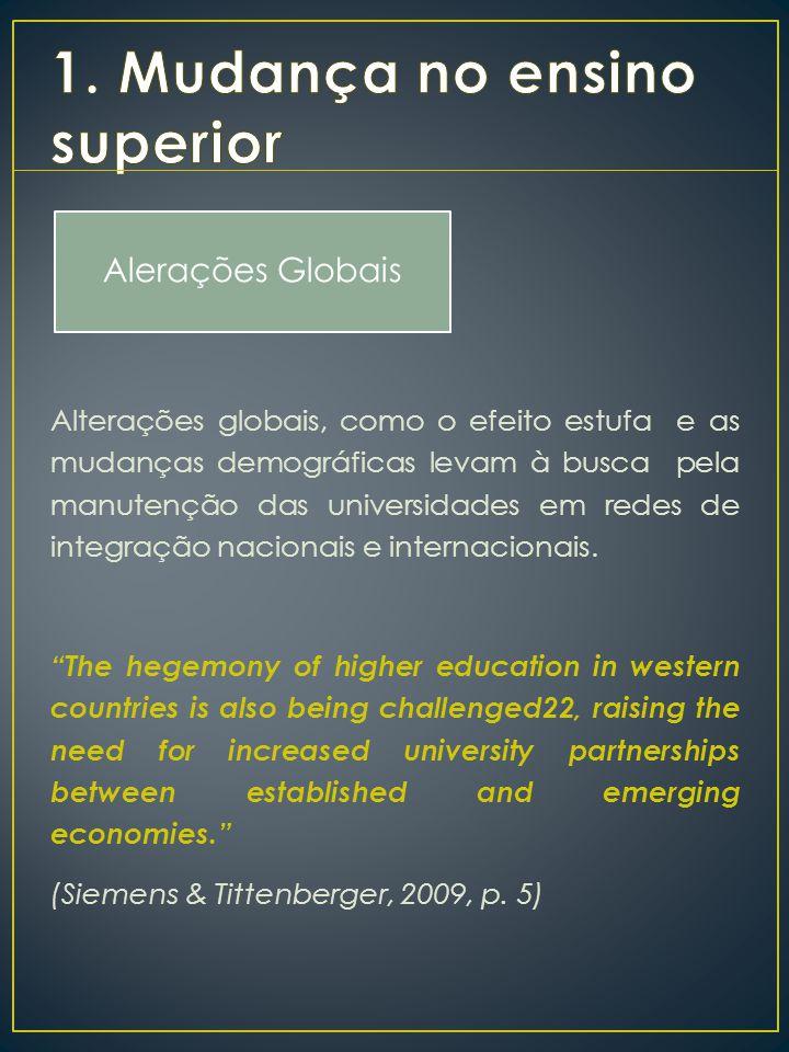 Alterações globais, como o efeito estufa e as mudanças demográficas levam à busca pela manutenção das universidades em redes de integração nacionais e internacionais.