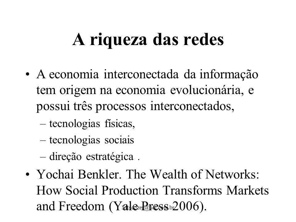 Mtscozer@uol.com.br A riqueza das redes A economia interconectada da informação tem origem na economia evolucionária, e possui três processos interconectados, –tecnologias físicas, –tecnologias sociais –direção estratégica.