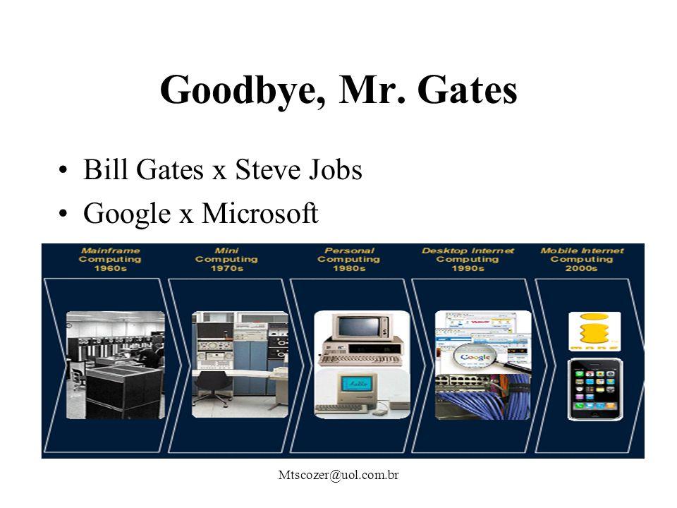 Mtscozer@uol.com.br Goodbye, Mr. Gates Bill Gates x Steve Jobs Google x Microsoft