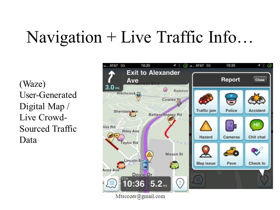 Navigation + Live Traffic Info… Mtscozer@gmail.com (Waze) User-Generated Digital Map / Live Crowd- Sourced Traffic Data