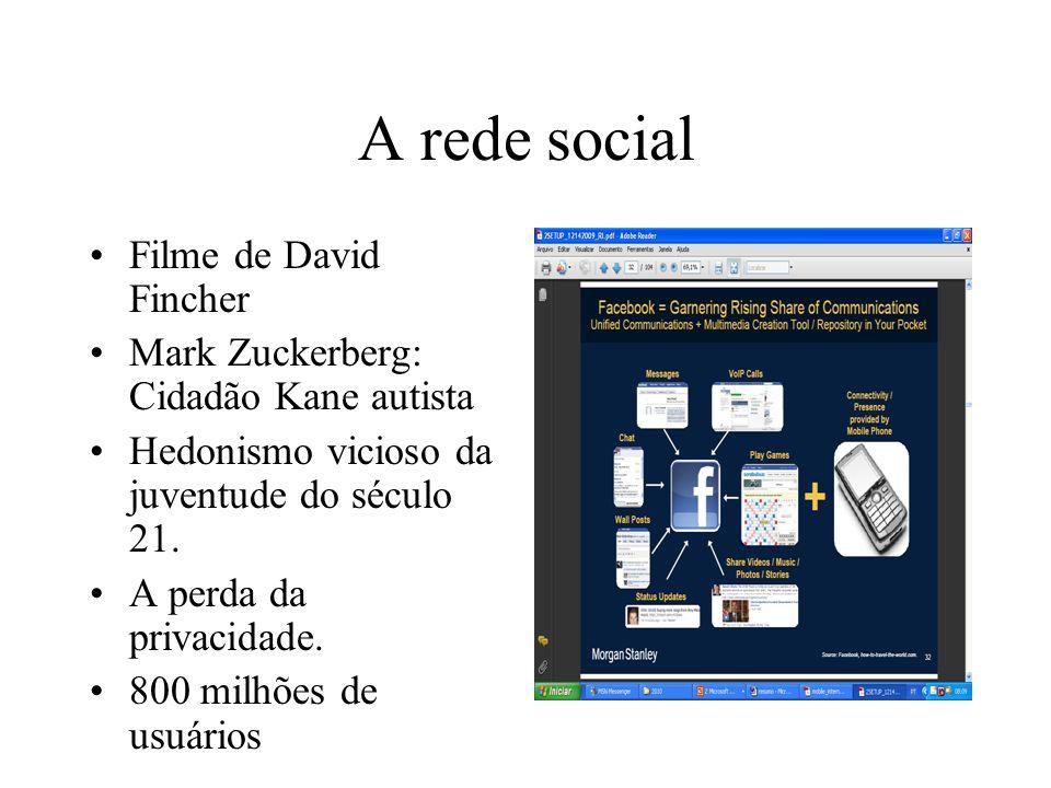 A rede social Filme de David Fincher Mark Zuckerberg: Cidadão Kane autista Hedonismo vicioso da juventude do século 21.