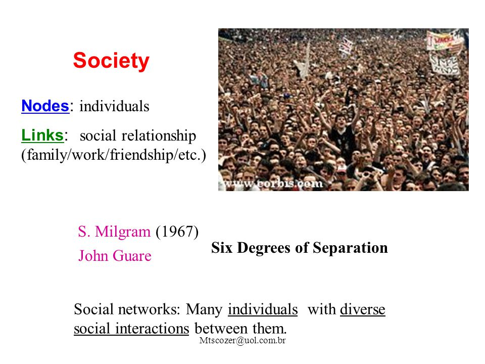 Society Nodes: individuals Links: social relationship (family/work/friendship/etc.) S. Milgram (1967) Social networks: Many individuals with diverse s