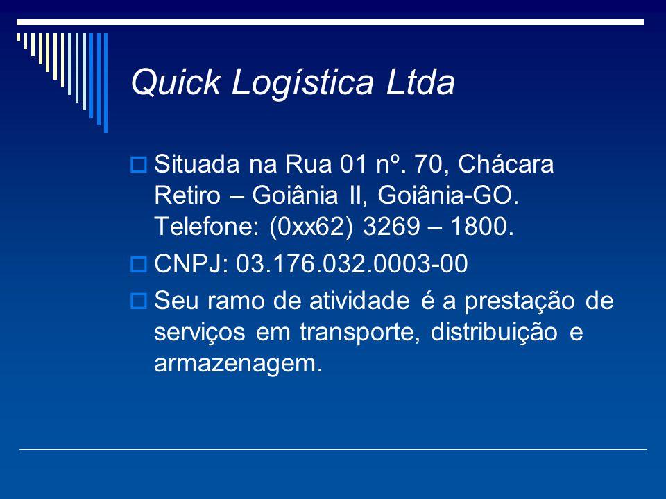 Quick Logística Ltda  Situada na Rua 01 nº. 70, Chácara Retiro – Goiânia II, Goiânia-GO. Telefone: (0xx62) 3269 – 1800.  CNPJ: 03.176.032.0003-00 